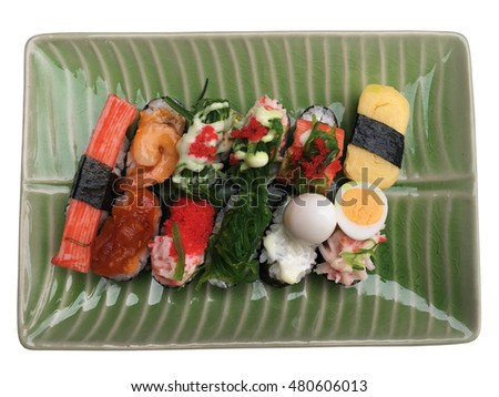 Sushi on a plate on a white backgroud.
