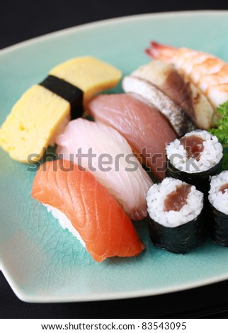 Sushi grilled fish raw fish on stock photo 83543077 for Sushi fish eggs