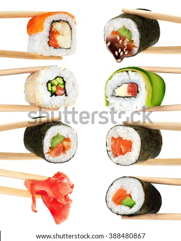 Sushi rolls isolated on white background. Collection. Chopsticks.