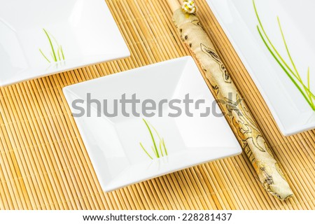 sushi set on a bamboo place-mat