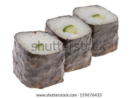 Sushi with cucumber isolated on white
