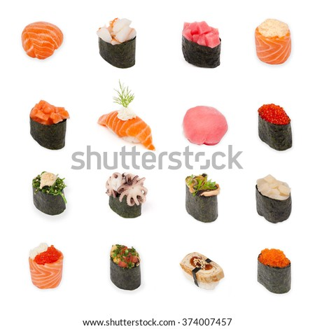 sushi with sea food and vegetables isolated on white background