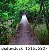 Suspension bridge across the water in the forest - stock photo