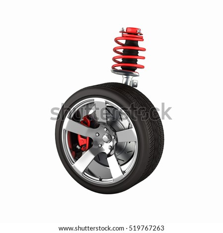 suspension of the car with wheel perspective view without shadow 3d