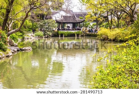 SUZHON, JIANGSU/CHINA-APR 15: Humble Administrator's(Zhuozheng)Garden-One of Chinese classical garden on Apr 15,2015 in Suzhou, Jiangsu, China. Suzhou is a famous tourist destination.