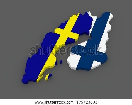 Map Sweden Finland D Stock Illustration Shutterstock - Sweden map 3d