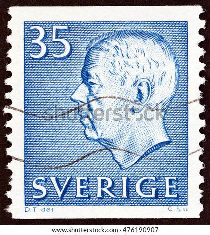 SWEDEN - CIRCA 1962: A stamp printed in Sweden shows King Gustaf VI Adolf, circa 1962.