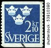 SWEDEN - CIRCA 1960s: A stamp printed in Sweden shows Three crowns of Sweden - coat of arms, circa 1960s - stock photo