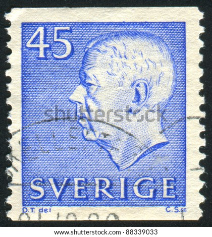 SWEDEN - CIRCA 1961: stamp printed by Sweden, shows Gustaf VI Adolf, circa 1961.