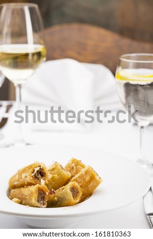 Sweet baklava/Sweet Dessert, portion of delicious baklava served in plate