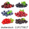 Sweet berries:  blackberry,blueberry,red currant,raspberry,black currant,cherry - stock photo