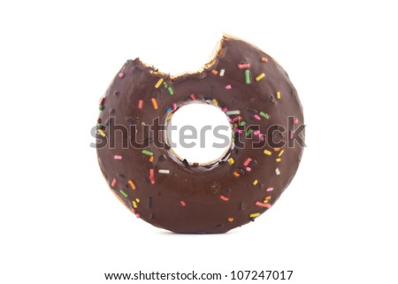 Sweet bited chocolate donut on white background