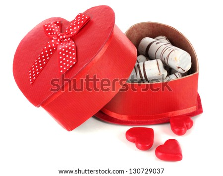 Sweet cookies in gift box isolated on white