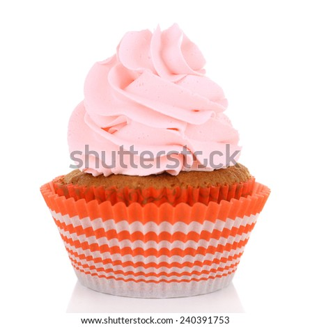 Sweet cup cake isolated on white
