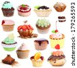 Sweet desserts isolated on white - stock