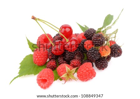 Sweet fresh raspberry fruit with cherry