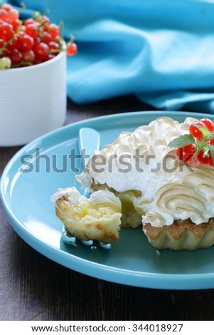 Tart Lemon Cream Meringue Decorated Currants Stock Photo ...