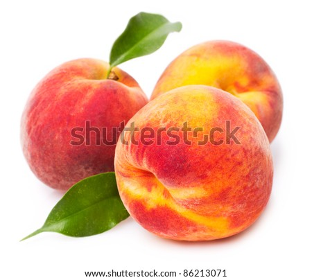sweet peaches on white background