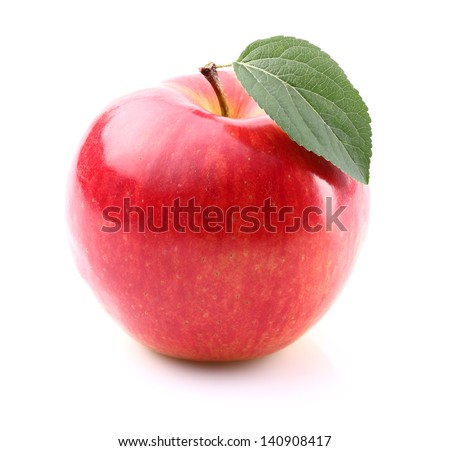 Sweet red apple with leaf