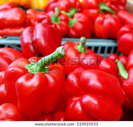 Sweet red bell peppers at the street market