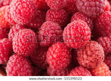 Sweet red raspberries close up