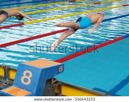 swimming competition, two swimmers were jumping from starting point into swimming pool