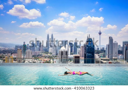 Swimming pool on roof top with beautiful city view kuala lumpur malaysia