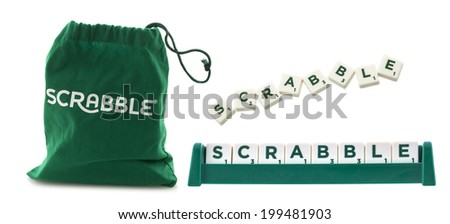 "SWINDON, UK - JUNE 12, 2014: Scrabble Tile Bag from the Word Game and the word ""Scrabble"" on a White Background"