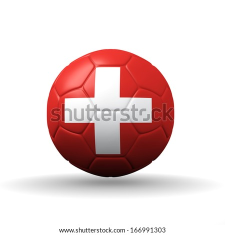 Swiss Confederation flag textured on soccer ball , clipping path included