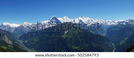 Swiss mountain panorama Bernese Alps in early summer