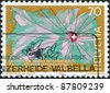 SWITZERLAND - CIRCA 1985: A stamp printed in Switzerland, is dedicated to the 50th anniversary of the Swiss radio, circa 1985 - stock photo