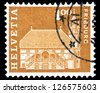 "SWITZERLAND - CIRCA 1960: A stamp printed in Switzerland shows cityscape, with inscriptions ""Townhall, Freiburg"", from the series ""Postal History and Architectural Monuments"", circa 1960 - stock photo"