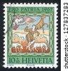 SWITZERLAND - CIRCA 1967: stamp printed by Switzerland, shows Annunciation to the Shepherds, circa 1967 - stock photo