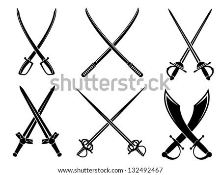 Swords, sabres and longswords set for heraldry design. Vector version also available in gallery