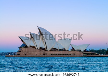 SYDNEY - August 18: View of the iconic Sydney Opera House at night on August 18, 2016 in Sydney, Australia.