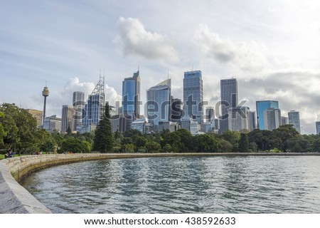 SYDNEY, AUSTRALIA - APRIL 19: View over Sydney skyline in daytime. April 2016