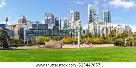SYDNEY, AUSTRALIA - AUGUST 29, 2012: Skyscrapers as seen from the Tumbalong Park near Darling Harbour in Sydney, Australia