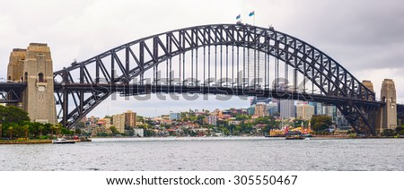 SYDNEY, AUSTRALIA - 09 DECEMBER 2014: The Sydney Harbour Bridge is a steel through arch bridge across Sydney Harbour that carries rail, vehicular, bicycle, and pedestrian traffic.
