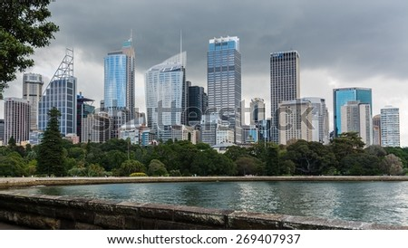 SYDNEY, AUSTRALIA March 31, 2014: Sydney's central business district seen from the botanical garden
