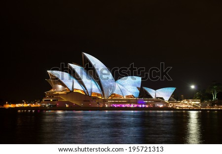 SYDNEY, AUSTRALIA - MAY 27: Sydney Opera House shown during Vivid Sydney: A Festival of Light, Music & Ideas on May 27, 2014 in Sydney, Australia.