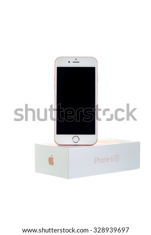 SYDNEY, AUSTRALIA - OCTOBER 19, 2015. Hand on the new Apple Iphone 6s on white background. The iPhone is the top-selling phone of any kind in some countries