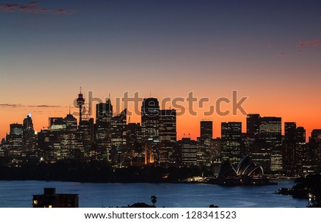 Sydney Harbor at dusk from Mosman Bay