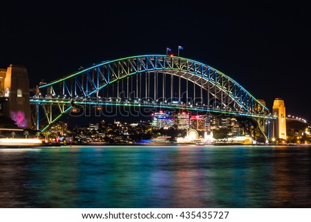 SYDNEY - June 10, 2016: Sydney Harbour Bridge in the night illuminated during Vivid Sydney Festival. Vivid Sydney is an annual outdoor Festival of Light, Music & Ideas in Sydney, Australia