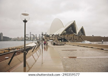 SYDNEY - JUNE 19: Sydney Opera House view on June 19, 2015 in Sydney, Australia. The Sydney Opera House is a famous arts center. It was designed by Danish architect Jorn Utzon.