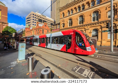 SYDNEY - MAY 12: Light rail at Paddy market station on May 12, 2014 in Sydney. Sydney Trains is owned by the Government of NSW and operates all passenger rail services in metropolitan Sydney.