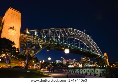 Sydney's Habour Bridge in the evening viewed from the south of the bay. Sydney, New South Wales, Australia.