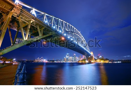 Sydney Skyline and Harbor Bridge at night