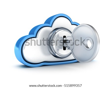 Symbol cloud storage protect on white background.3d illustration
