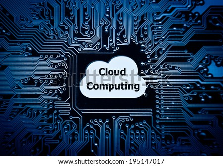 symbol of a cloud on computer circuit board - cloud computing