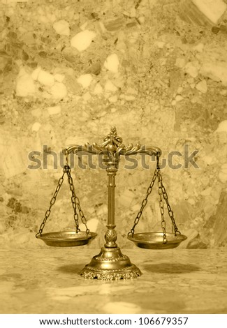 Symbol of law and justice on the table, law and justice concept